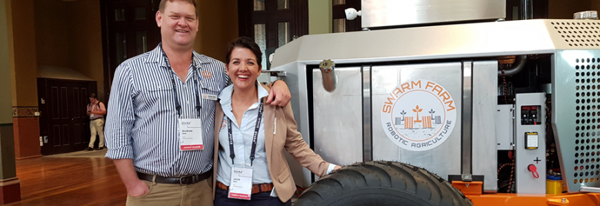 SwarmFarm Robotics Co-Founders, Andrew + Jocie Bate at EvokeAg2020, Melbourne. Photo credit: AgFrontier | AgFrontier